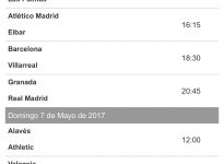 Tablas de siguientes partidos liga Santander.